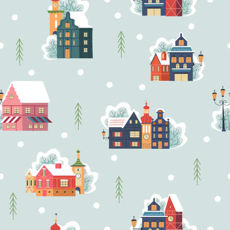 Seamless pattern. Snowy day in cozy christmas town. Winter christmas village day landscape. Snow covered houses, snowdrifts, fir trees. Vector illustrati