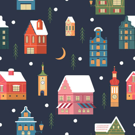 Seamless pattern. Snowy night in cozy christmas town. Winter christmas village day landscape. Snow covered houses, snowdrifts, fir trees. Vector illustration.  イラスト・ベクター素材