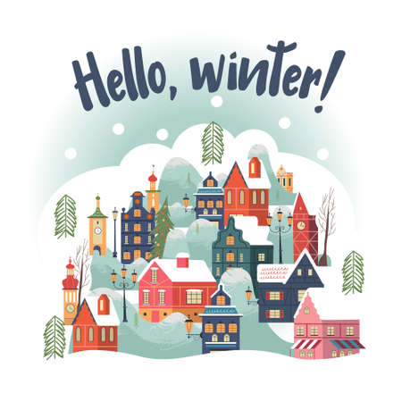 Hello winter. Snowy day in cozy christmas town. Winter christmas village day landscape. Cute snow covered houses, snowdrifts, fir trees. Vector illustration, greeting card.