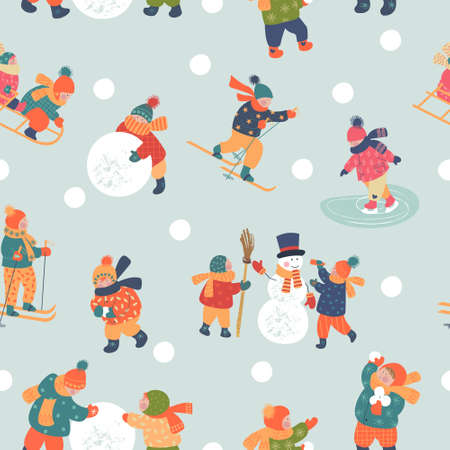 Seamless pattern. Winter season background kids characters. Flat vector illustration. Winter outdoor activities. Children go sledding, skating and skiing. Children make a snowman and play snowballs. Children have fun. Stok Fotoğraf - 156070239