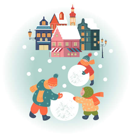 Snowy day in cozy christmas town. Winter christmas village day landscape. Children make a snowman. Children play outside in winter. Vector illustration, greeting card. Stok Fotoğraf - 156070241