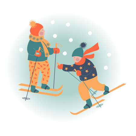 Snowy day. Winter christmas day landscape. Children go skiing. Children play outside in winter. Vector illustration, greeting card.