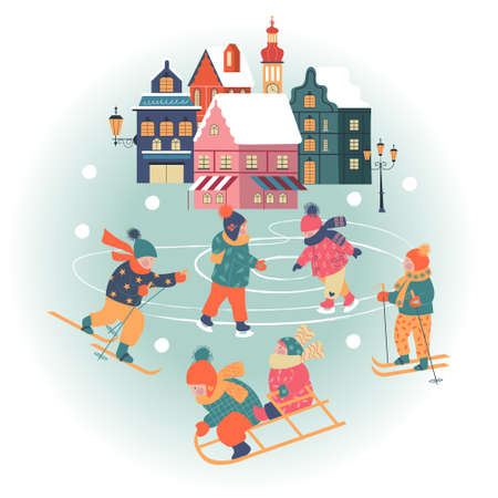 Snowy day in cozy christmas town. Winter christmas village day landscape. Children are skating, skiing, sledding, playing snowballs. Children play outside in winter. Vector illustration, greeting card.  イラスト・ベクター素材
