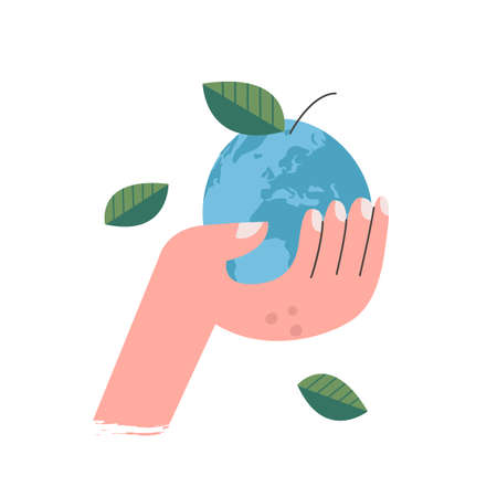 The earth is like an apple in your hand. Vector illustration on a white background. For vegan day. Flat design.