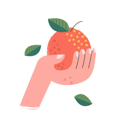 Red Apple in hand. Vector illustration on a white background. For vegan day. Flat design.