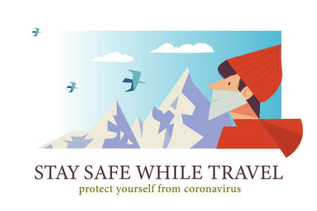 Stay safe while traveling. Vector poster encouraging people to wear masks. The guy is traveling in the mountains in a medical mask  イラスト・ベクター素材