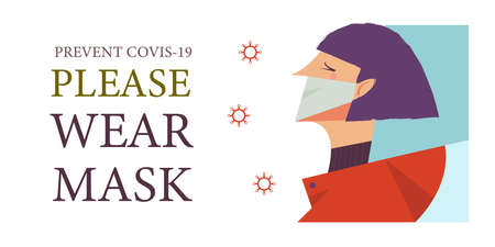 The girl in the medical mask. Please put on your mask. Vector poster encouraging people to wear masks during the coronavirus pandemic.
