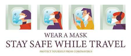 Stay safe while traveling. Vector poster encouraging people to wear masks. Men and women in medical masks fly in the plane. Stok Fotoğraf - 156588012