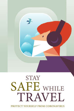 Stay safe while traveling. Vector poster encouraging people to wear masks. A man in a medical mask is flying on a plane.