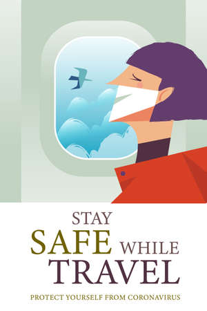 Stay safe while traveling. Vector poster encouraging people to wear masks. A girl in a medical mask is flying on a plane.