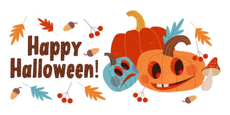 Happy Halloween. Funny and scary pumpkins. Vector holiday illustration, greeting card. On white background.  イラスト・ベクター素材