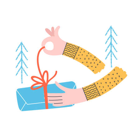 A man opens a Christmas gift. Vector funny illustration, concise Christmas card.