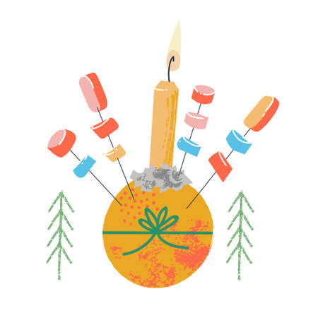 Christingle. Traditional Christmas decor. Vector illustration on a white background. Orange, candle and sweets. Stock Illustratie