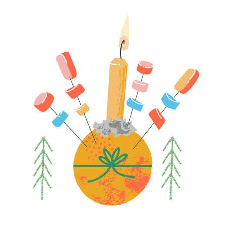 Christingle. Traditional Christmas decor. Vector illustration on a white background. Orange, candle and sweets. Çizim