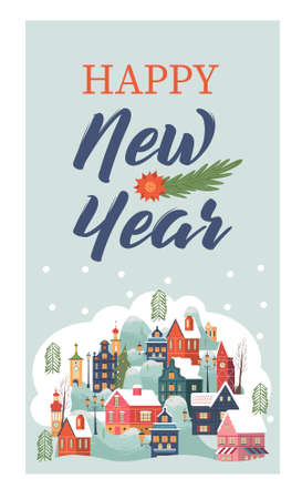 Merry Christmas. happy new year. Hello winter. A small snow covered city. Christmas greeting card. Vector illustration.