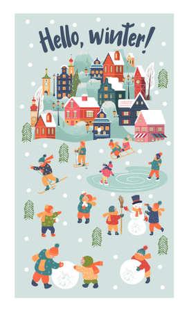 Winter season background kids characters. Flat vector illustration. Children go sledding, skating and skiing. Children make a snowman and play snowballs. Çizim