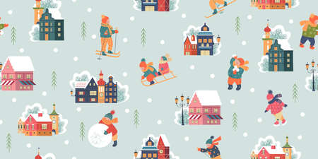 Seamless pattern. Winter season background kids characters. Flat vector illustration. Children go sledding, skating and skiing. Children make a snowman and play snowballs. Stock Illustratie