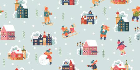 Seamless pattern. Winter season background kids characters. Flat vector illustration. Children go sledding, skating and skiing. Children make a snowman and play snowballs. Çizim