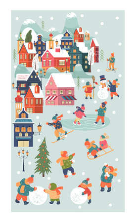 Winter season background kids characters. Flat vector illustration. Winter outdoor activities. Children go sledding, skating and skiing. Children make a snowman and play snowballs. Stock Illustratie