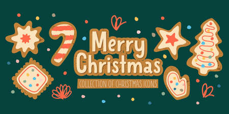 Merry Christmas. A set of vector elements. Christmas cookies with icing sugar. Greeting banner, greeting card.