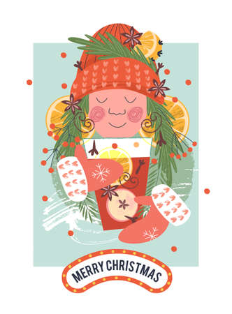 Christmas card in cartoon style. Cute girl drinks mulled wine on a cold winter day. Vector illustration. Çizim
