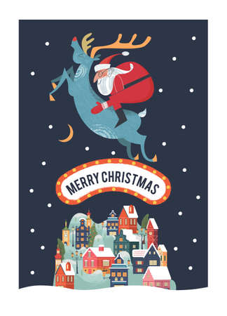 Santa Claus rides on deer. A small cozy snow covered town. New year and Christmas. Vector christmas card. Stock Illustratie