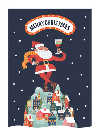 Santa toasting a wine glasses. Snow falls quietly. A small cozy snow covered town at night. New year and Christmas. Vector christmas card.