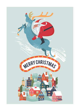Santa Claus rides on deer. A small cozy snow covered town. New year and Christmas. Vector christmas card. Çizim