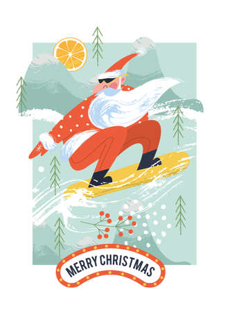 Merry Christmas. Cool Santa on a snowboard rushing down the mountain. Vector Christmas card.
