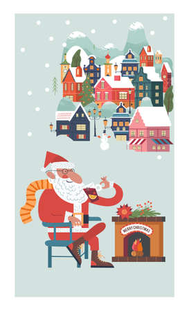 Santa is sitting by the fireplace drinking mulled wine. Snow falls quietly. A small cozy snow covered town. New year and Christmas. Vector christmas card.