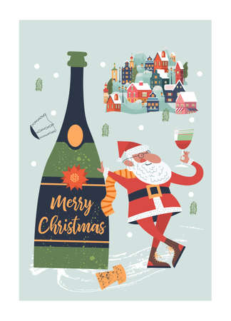 Santa toasting a wine glasses. A small cozy snow covered town. New year and Christmas. Vector christmas card. Çizim
