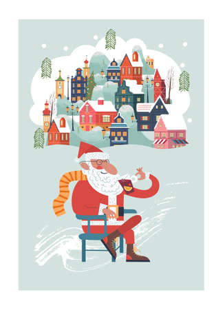 Santa is sitting drinking mulled wine. Snow falls quietly. A small cozy snow covered town. New year and Christmas. Vector christmas card.