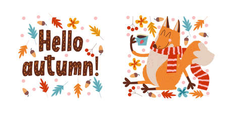 Hello, autumn. Funny red Fox in a warm striped scarf drinking tea on an autumn day. Vector illustration. Stock Illustratie