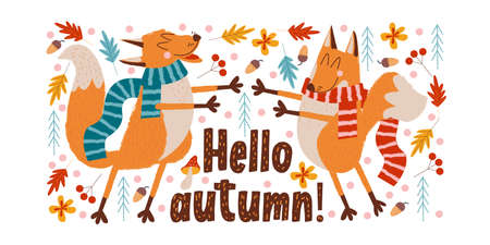 Hello autumn. Two cute foxes in striped scarves enjoy autumn and each other in the autumn forest. Vector autumn illustration.