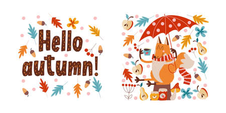 Hello, autumn. Funny red Fox with an umbrella drinking tea with jam from apples, pears and strawberries sitting under an umbrella on an autumn day. Vector illustration.