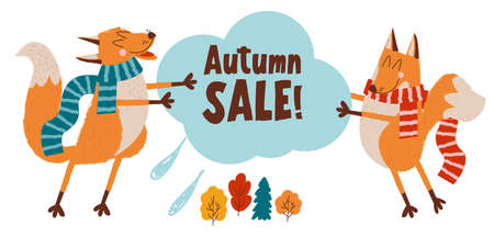 Autumn sale. Two cute foxes in striped scarves enjoy autumn and discounts. Chanterelles hold a cloud with the inscription Autumn Sale. Vector autumn illustration.
