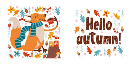 Hello, autumn. A funny red Fox in a warm striped scarf drinks tea with Apple and strawberry jam on an autumn day. Vector illustration. Çizim
