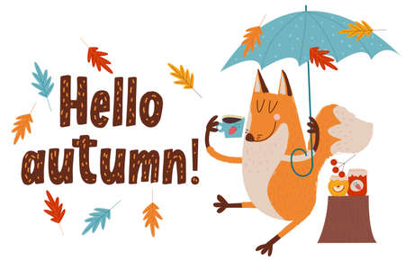Hello, autumn. Funny red Fox with an umbrella drinking tea sitting under an umbrella on an autumn day. Vector illustration.