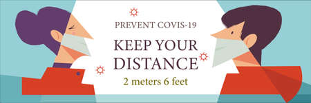 Keep your distance. Vector poster encouraging people to wear masks and keep a social distance during the coronavirus pandemic. A man and a woman in medical masks.