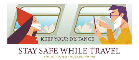 Stay safe while traveling. Vector poster encouraging people to wear masks. Men and women in medical masks ride on the train.