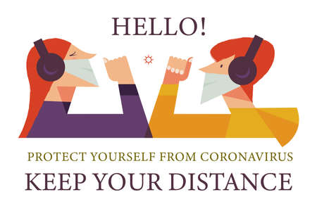 Keep your distance. Vector poster encouraging people to wear masks and keep a social distance during the coronavirus pandemic. Hello. New contactless greeting without shaking hands. Çizim