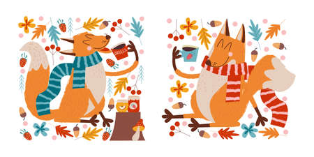 Hello, autumn. Two cute foxes drink tea with jam on the edge of the forest on an autumn day.