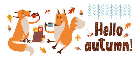 Hello, autumn. Two cute foxes drink tea on a autumn day.