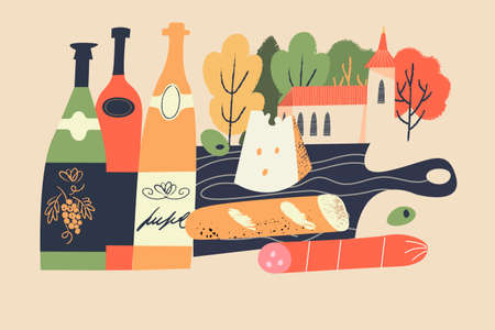 Beaujolais Nouveau. Festival of new wine in France. Bottles of wine, cheese, salami, baguette on a black wooden cutting Board. Picnic on the background of the village landscape.