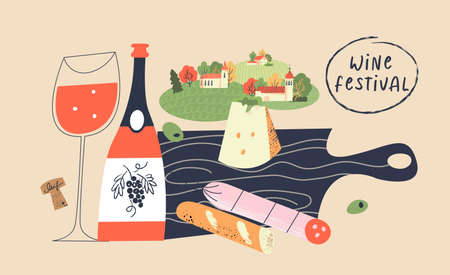 Beaujolais Nouveau. Festival of new wine in France. Bottles of wine, a glass of red wine, cheese, salami, baguette on a black wooden cutting Board. Picnic on the background of the village landscape. Vector illustration.
