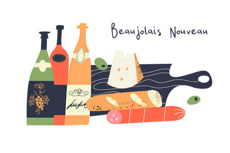 Beaujolais Nouveau. Festival of new wine in France. Bottles of wine, cheese, salami, baguette on a black wooden cutting Board. Vector illustration.