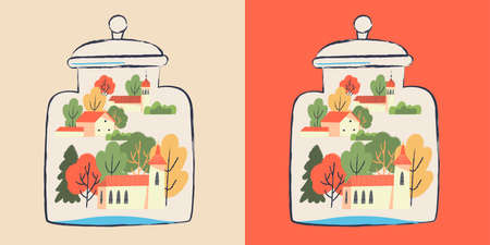 A small village in a glass jar. Houses, trees. Vector illustration.