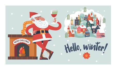 Santa toasting a wine glasses. Snow falls quietly. A small cozy snow covered town. New year and Christmas. Vector christmas card.