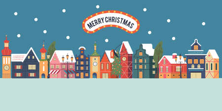 Merry christmas. Night snow covered town. Snowfall. Christmas card with. Vector greeting christmas card.