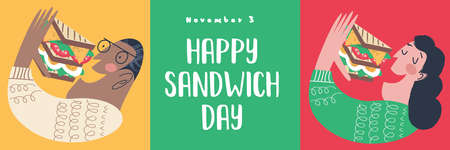 People eat a very large sandwich. Vector funny illustration in flat cartoon style. Isolated on a white background.